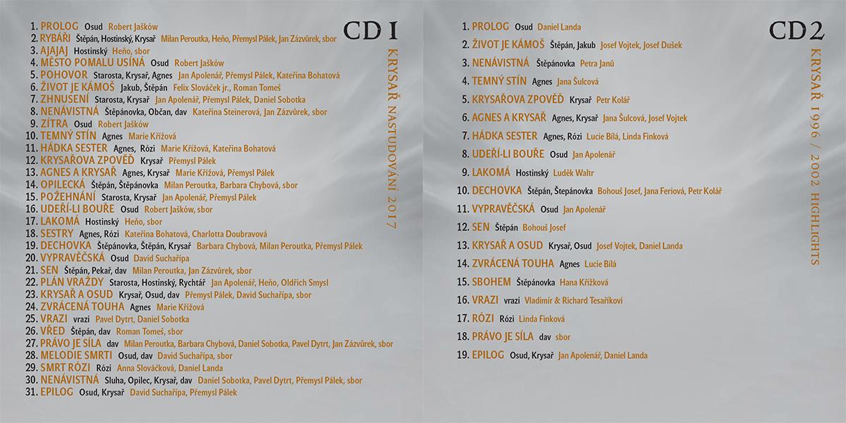 Tracklist CD Krysař 1996 – 2018