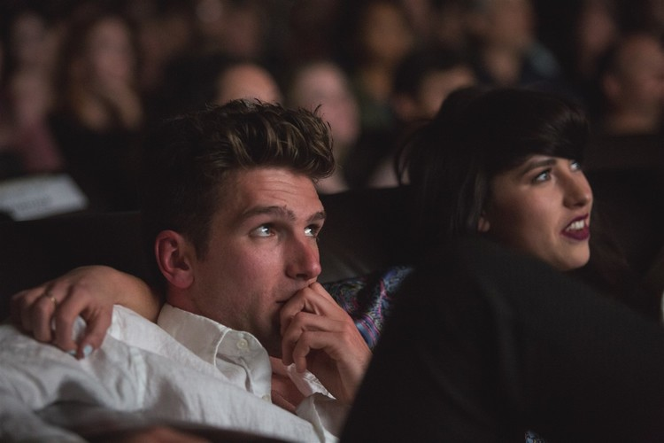 Kimbra and longtime collaborator, director Guy Franklin watch their work with an audience at Cinefamily during LAMVF