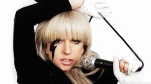 Lady Gaga - white gloves - microphone - blonde