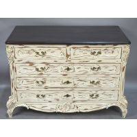 ANTIQUE WHITE PAINTED DISTRESSED LOUIS XV / FRENCH COUNTRY ...