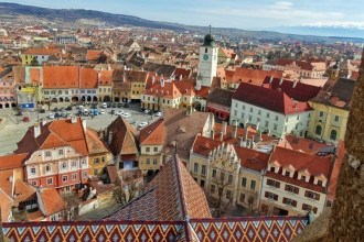 The picturesque town of Sibiu seen from the top of tower of the Lutheran Cathedral of Saint Mary