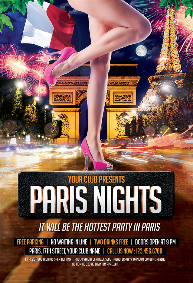 Paris Nights Party Flyer Template - Mustache Themes