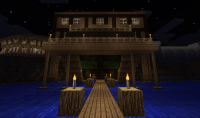 Stilt house - Lake view from the dock at night ...