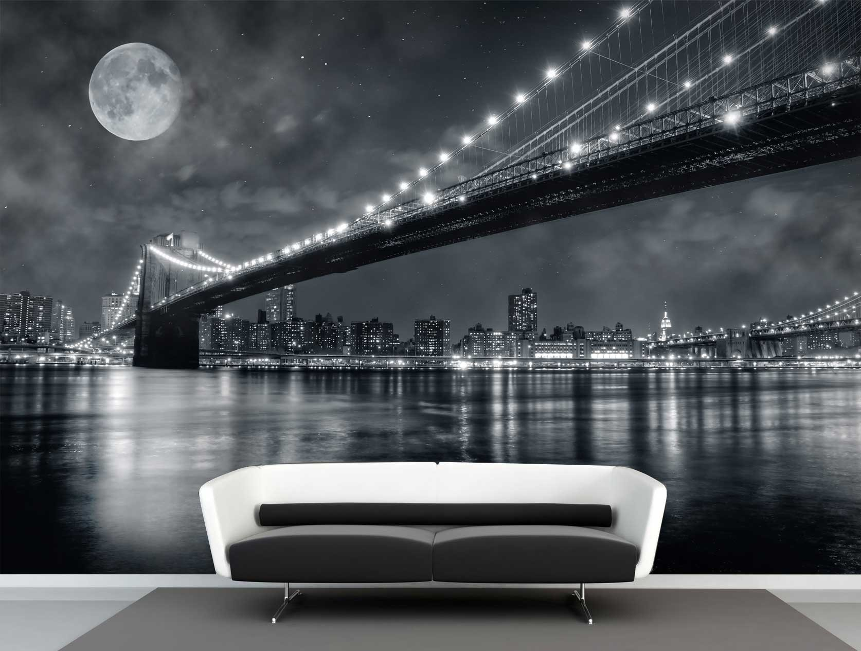 Babykamer Wit Vlies Fotobehang Full Moon Brooklyn Bridge | Muurmode.nl