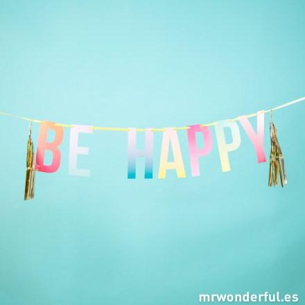 Mr.Wonderful guirnalda con pompones Be happy