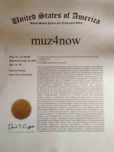 muz4now USTPO service mark is official