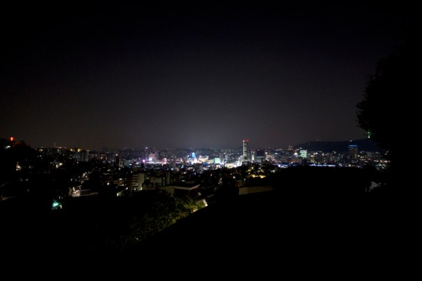 But it turns out from Naksan, you can see a very small Namsan Tower to the right.