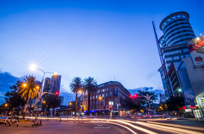 Evening traffic along Kimathi Street Nairobi.