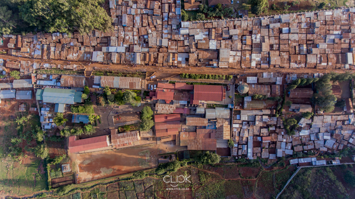 An aerial view of Kibagare Slum in Nairobi on 27th January 2017.