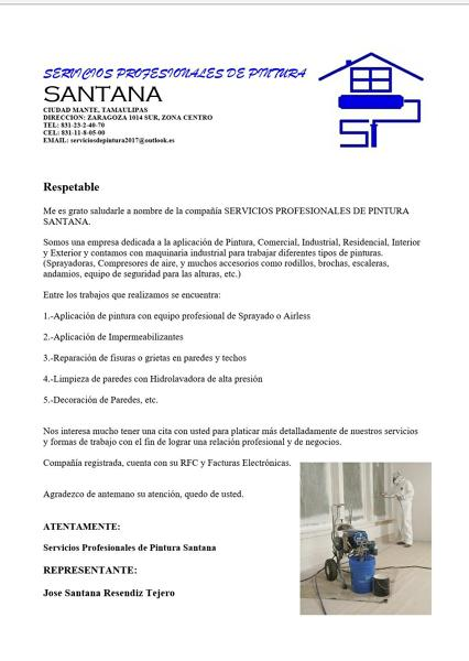 Foto Carta de Presentacion de Servicios Profesionales De Pintura