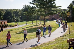 students walking on Middletown campus photo