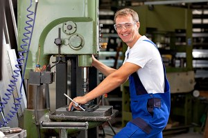 Man works on machine