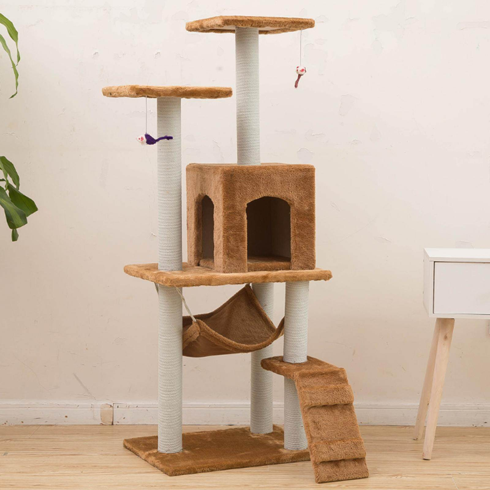 Cat Interior Terbaik Nava 125cm Large Pets Cat House Scratcher Condo Kitten Playground Cat Tree Play House Brown