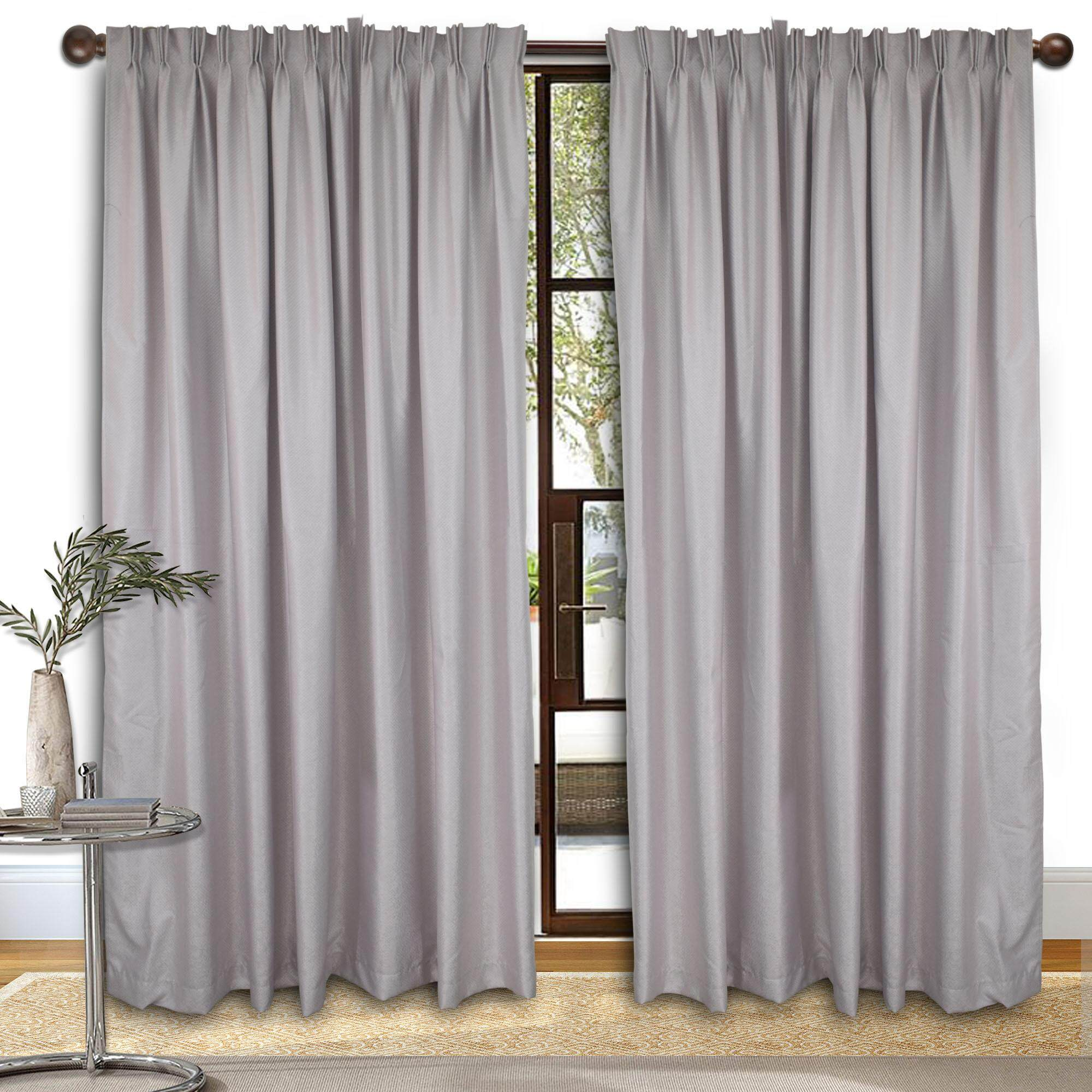 Sliding Door Curtain Essina Premium Blackout French Pleated Curtain 1 Layer Ziva Grey 4 5 Sliding Door