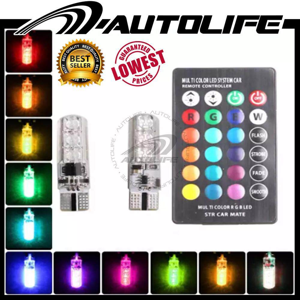 Harga Lampu Headlamp Wira 1pair Multi Color T10 5050 Smd Rgb Remote 6 Led Controller Reading Wedge Light Bulb