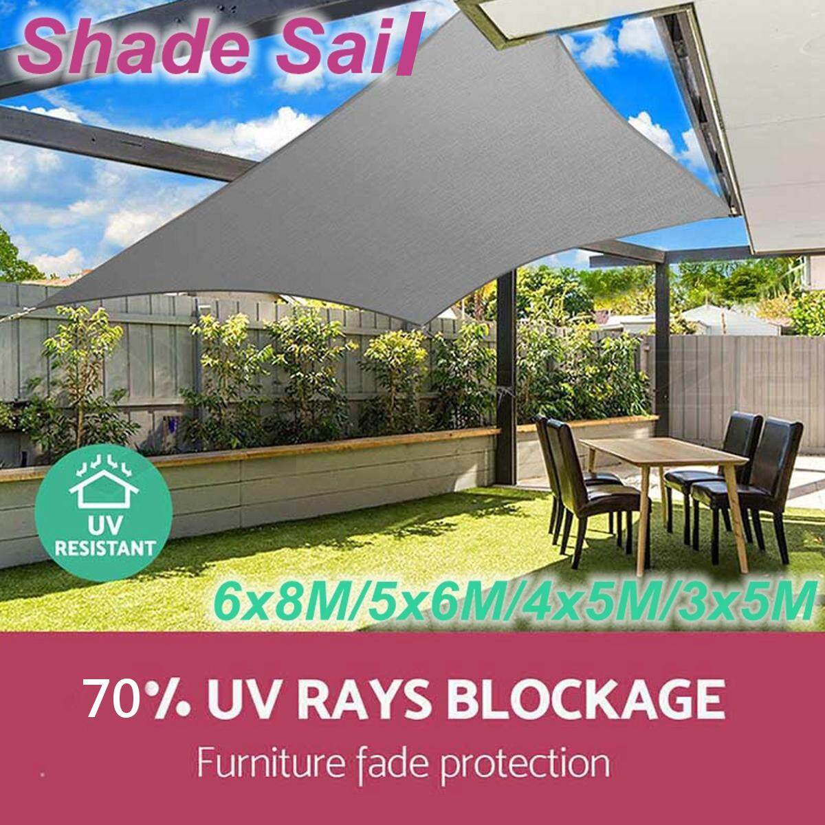 Model Awning Rumah 3 5m Sun Shade Sail Cloth Shadecloth Outdoor Canopy Awning Rectangle Square 280gsm Waterproof Anti 70 Uv
