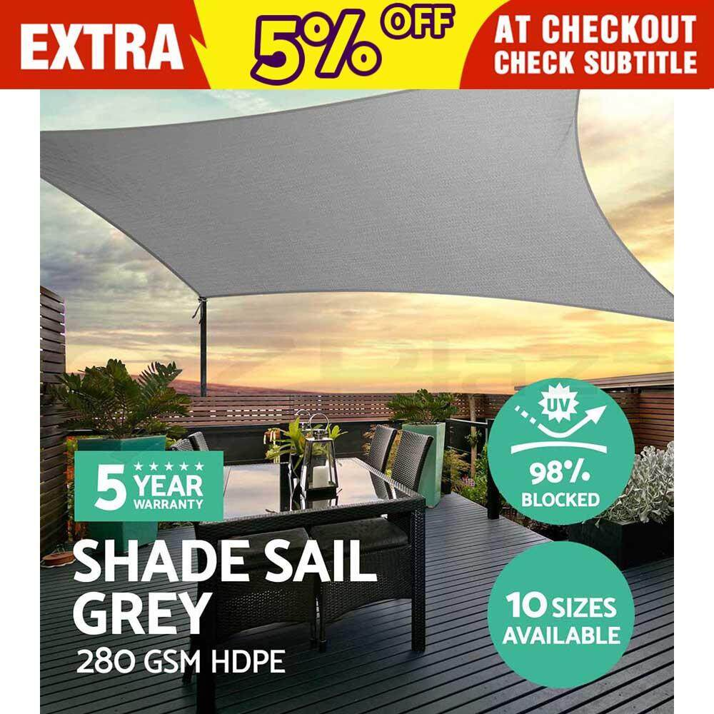 Model Awning Rumah Extra Heavy Duty Shade Sail Grey Gray Sun Outdoor Triangle Square Rectangle 2 1 8m
