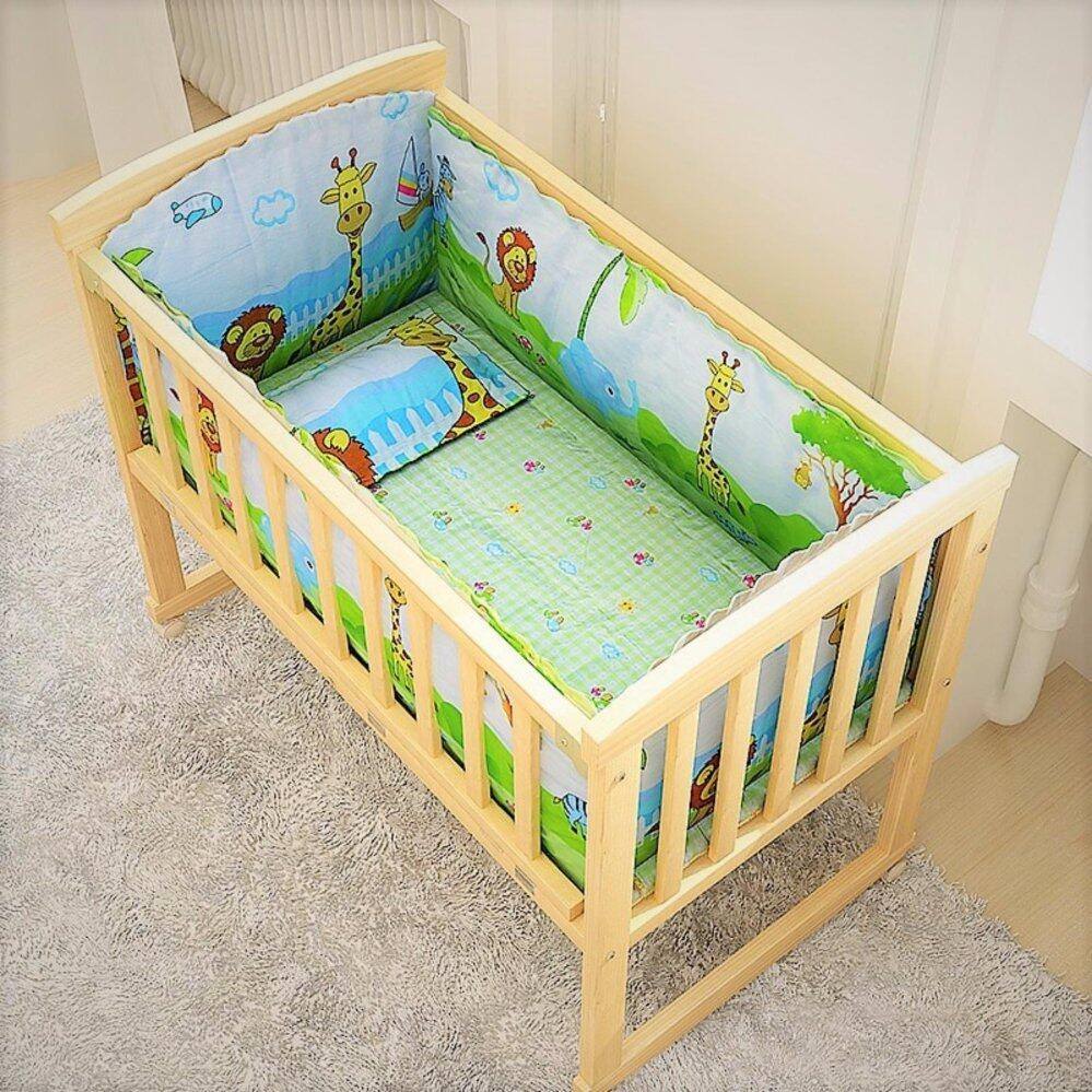 Baby crib cradle natural multi functional baby wooden cot style a