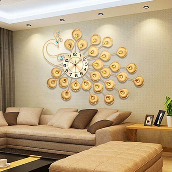 Luxury Peacock Living Room Wall Clock(Gold) Lazada Malaysia - living room clock