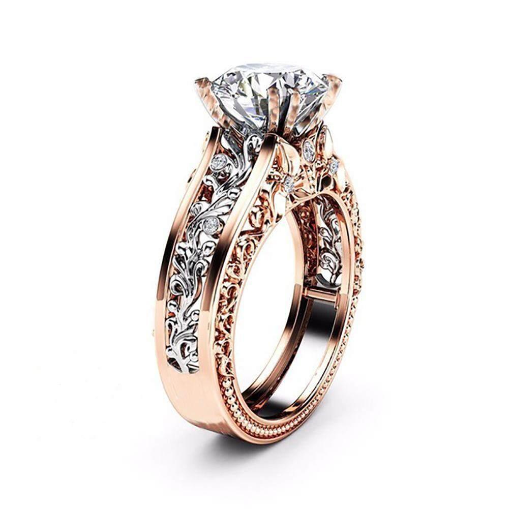 Cincin Kristal Alami Bulan Ukuran 7 Putih International Daftar Diamond Dnccc137 Putri Berlian Pertunangan Lingkaran 14 K Mawar Gold Dan Sterling Perak Pernikahan Pengantin