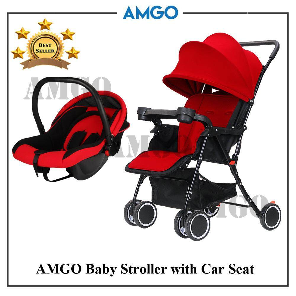 Top Lightweight Travel System Strollers Amgo Travel System Baby Stroller Easy Fold Light Weight Baby Stroller With Baby Car Seat Pr Red