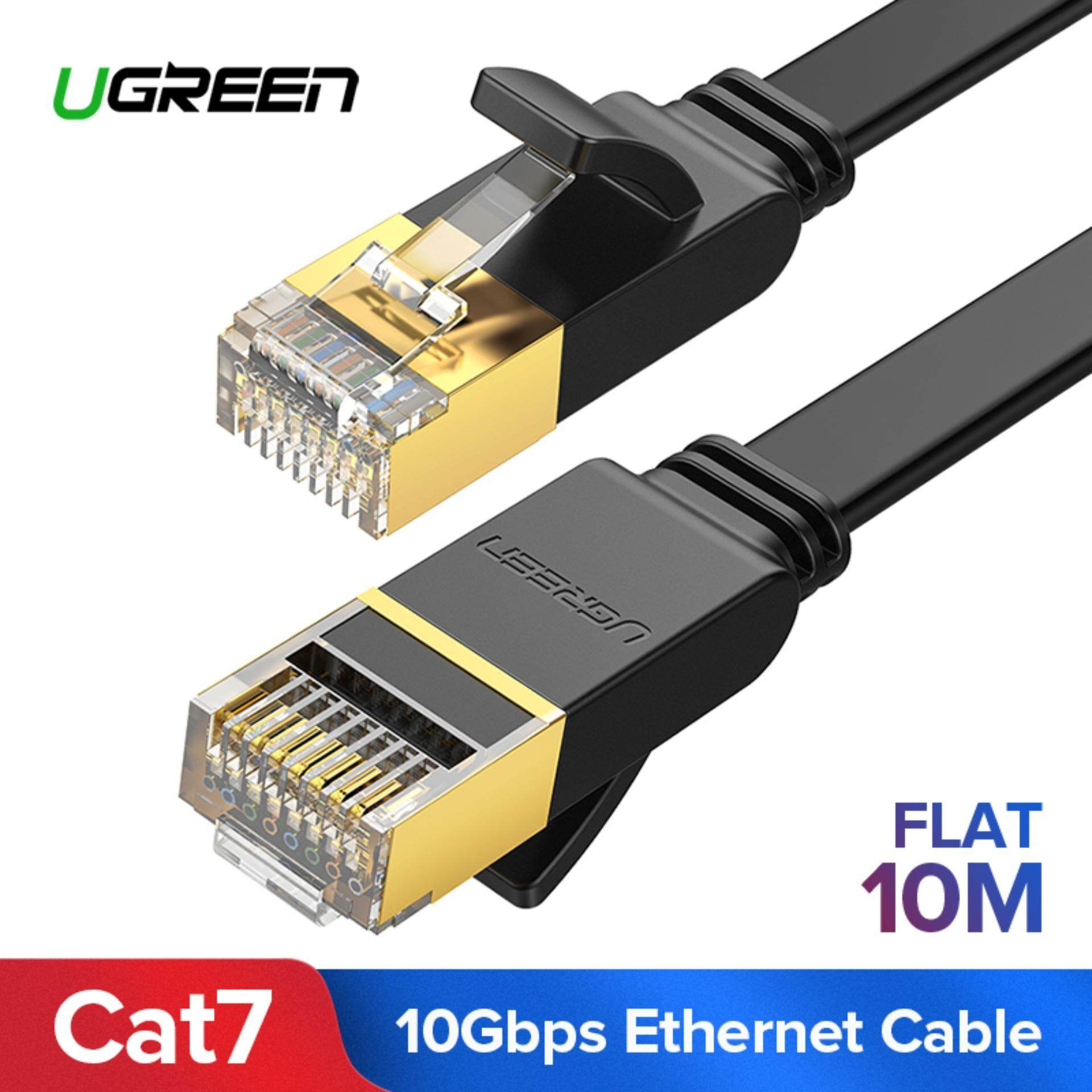 Coax Kabel 7 Meter Ugreen 10 Meter Flat Ethernet Cable Cat7 Rj45 Network Patch Cable Flat 10 Gigabit 600mhz Lan Wire Cable Cord Shielded For Modem Router Pc Mac