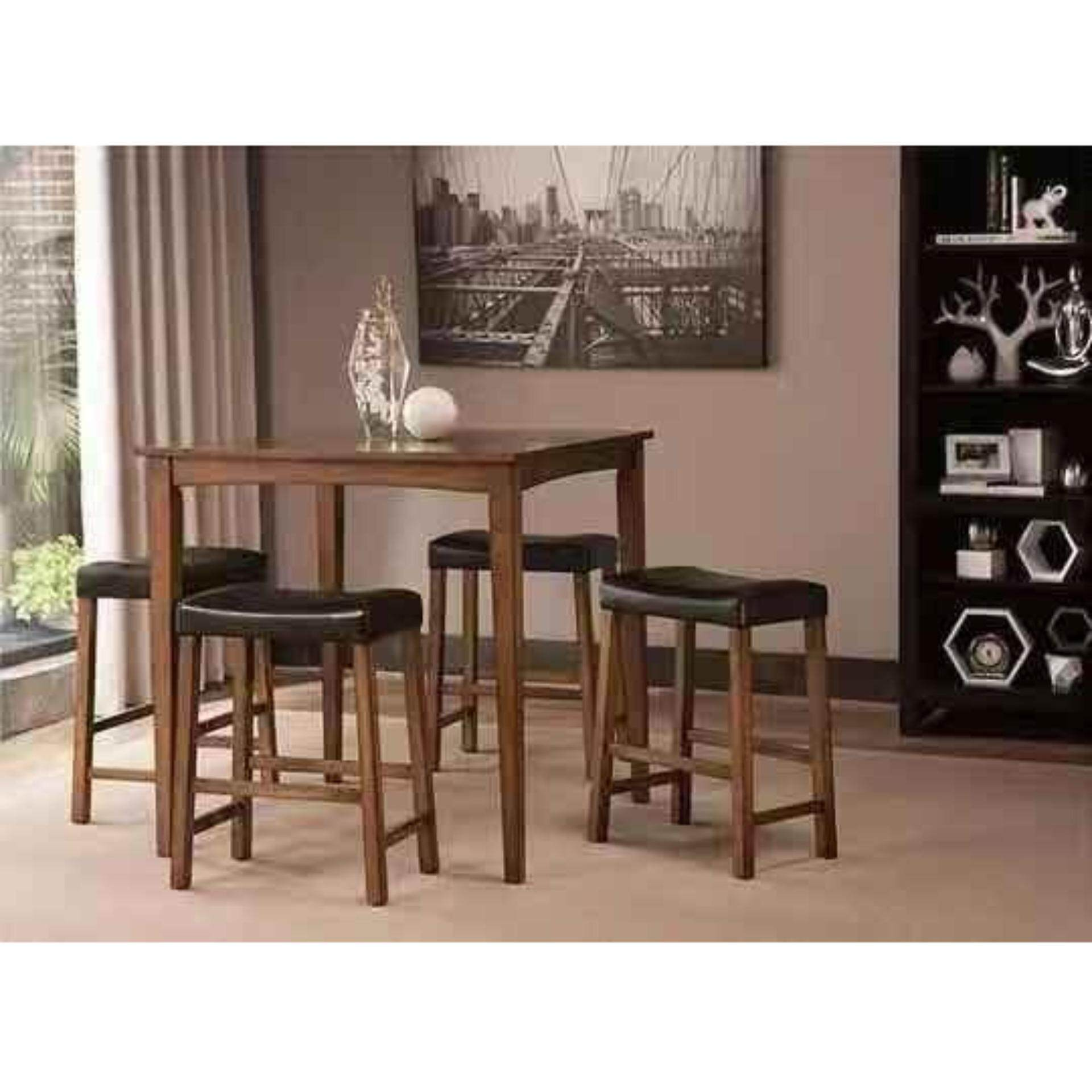 Harga Kitchen Set Mini Bar Export Grade 5 Piece Breakfast Table And Stools Set In Nut Brown Kitchen Counter Height Dining Set Table Chair