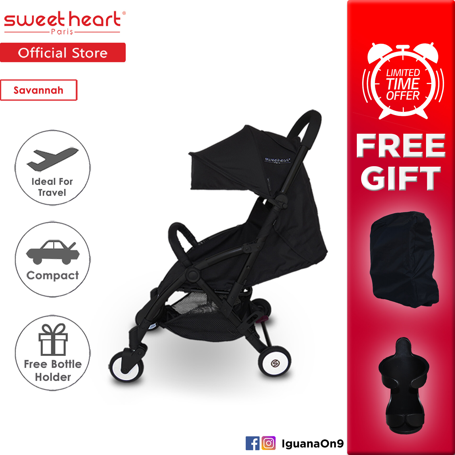 Young Versace Baby White Stroller And Travel Set Cny 2020 Sweet Heart Paris Compact Stroller Savannah Nero Black With Free Travel Bag