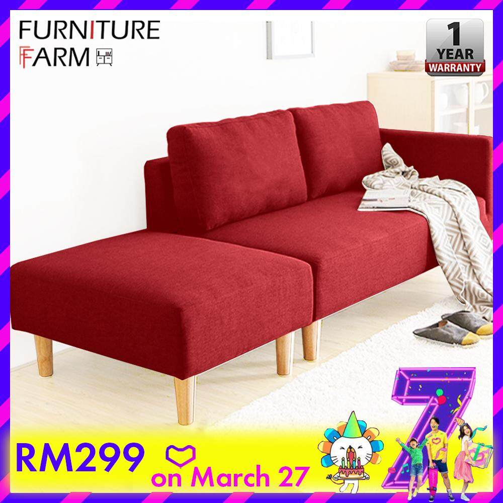 Sofa L Shape Untuk Ruang Tamu Kecil F F Lazzo 123 Affordable Durable 2 Seater Fabric Design Sofa With Free Stool
