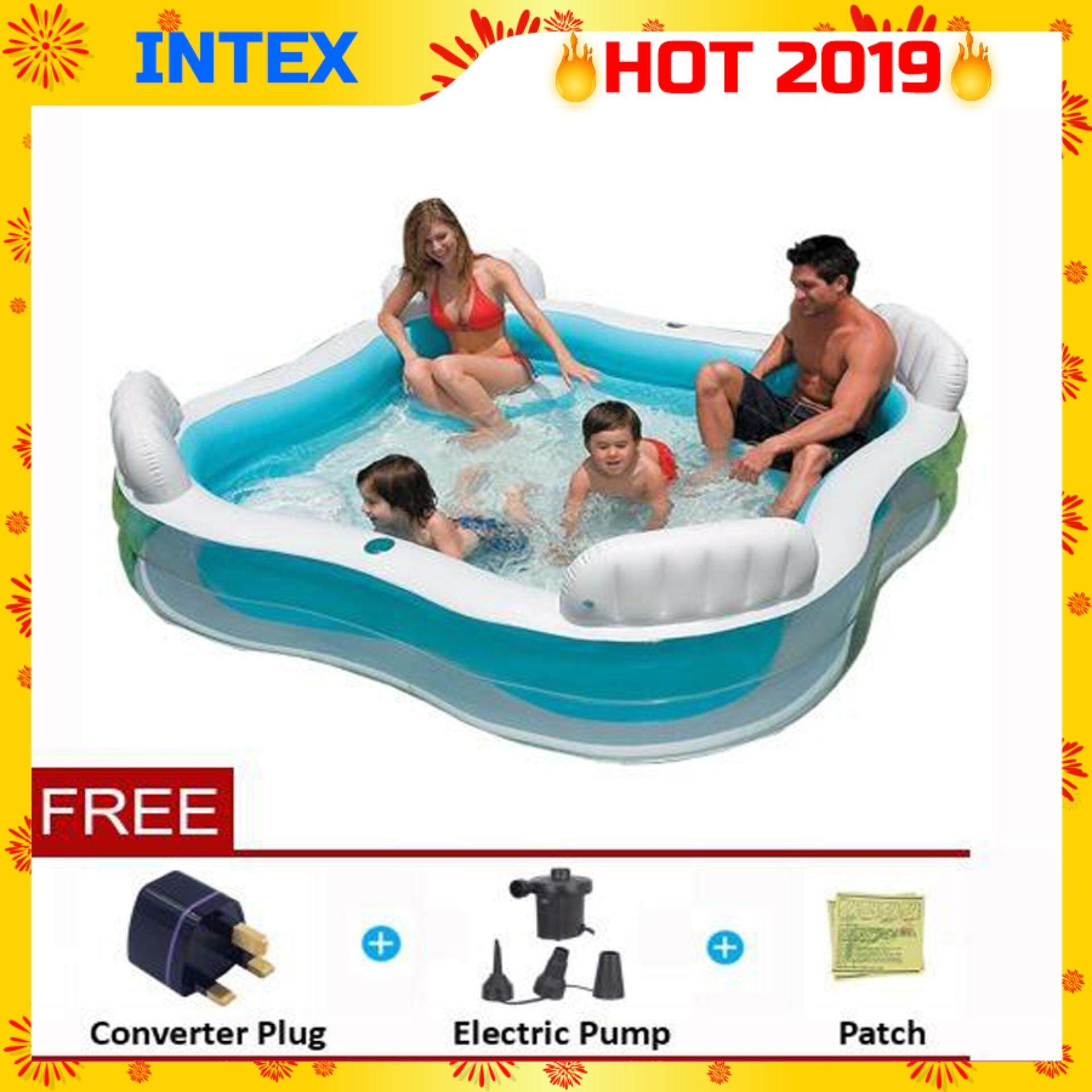 Intex Oder Bestway Frame Pool Intex 56475 Swimming Pool Center Family Lounge Inflatable Pool With 4 Built In Inflatable Seat And 2 Drink Holders Blue Color Premium Toys For