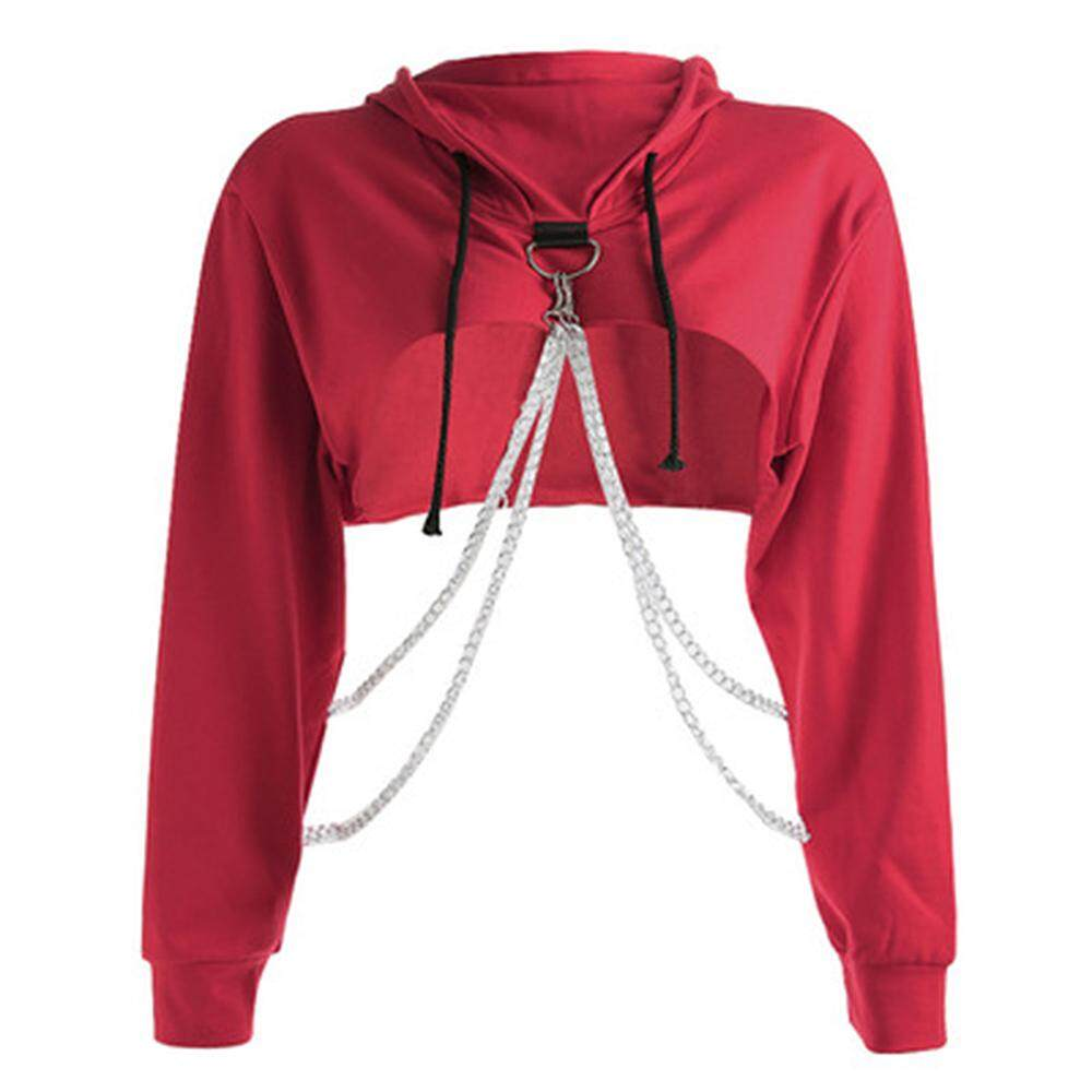 Pullover Hoodie Cut Comebuy88 Sexy Women Hooded Cut Off Front Sweatshirt Hoodie Crop Top Jumper Pullover