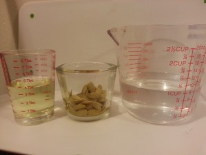PHOTO: Measuring cups full of supplies, including seeds, bleach, and water.