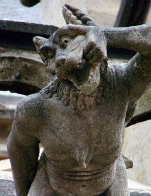 Werewolf gargoyle at the Cathédrale Notre-Dame de Moulins
