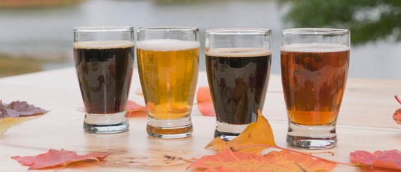 """PHOTO: A """"flight"""" of four beers, showing different colors and ales."""