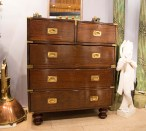 Booth#208, Fair Trade Antiques: An 1850s mahogany chest of drawers from England.