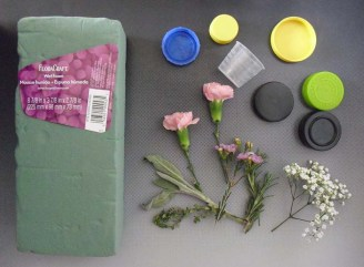 PHOTO: The supplies for creating bottlecap bouquets.