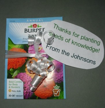 "PHOTO: Seed packed with a label saying, ""Thanks for planting the seeds of knowledge."""