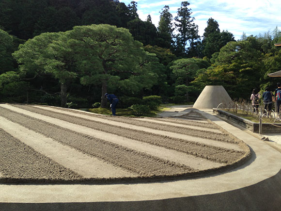 PHOTO: Ginsyadan and Kongetsudai are truly enchanting. The gardener in blue uniform in the center of the photo is sweeping the moss, a common sight at all the gardens I visited.