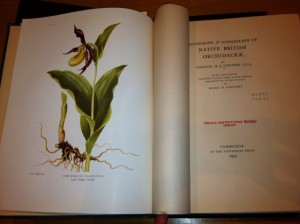 Although the cover of the book is plain, inside are Intricate watercolors of 57 different orchid varieties.