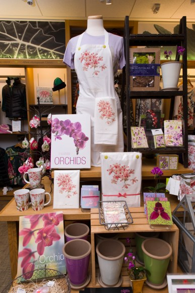 PHOTO: Montage of orchid-related products in the Garden Shop.