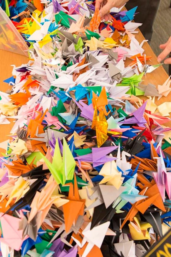 PHOTO: Origami paper cranes.