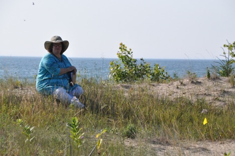 Kay Havens, ready to record data at Ship Canal Nature Preserve, owned by the Door County Land Trust.