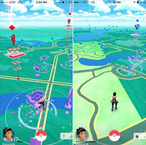 PHOTO: Screen shots of Pokémon GO game being played at the Garden.