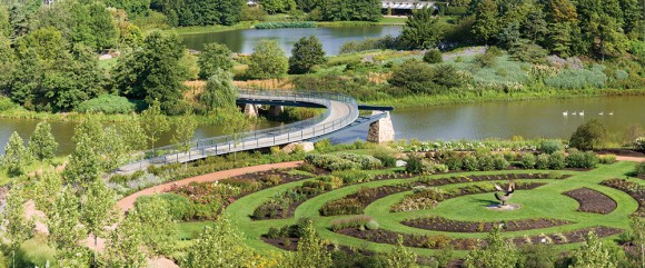 PHOTO: Overhead view of the bridge and gardens in mid-spring.