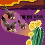 ILLUSTRATION: Bats fly in to pollinate a cactus.
