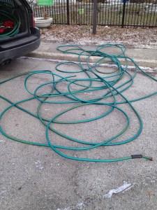 PHOTO: frozen hose in winter.