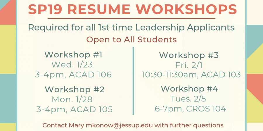 RESUME Workshops! My Jessup