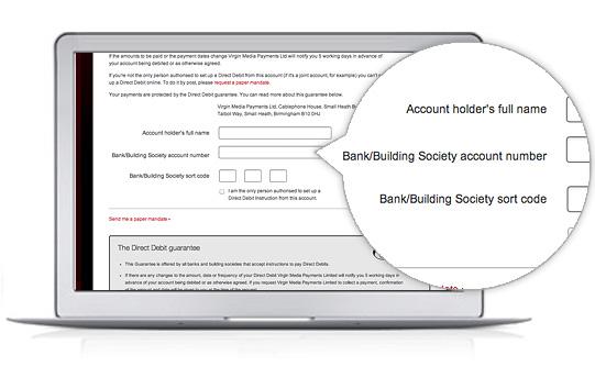 Set up Direct Debit \u2013 Discover \u2013 Virgin Media - direct debit form