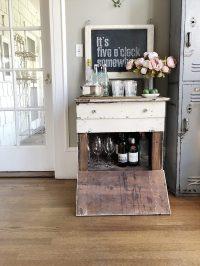 Styling a Farmhouse style bar cart.