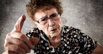 37345269 - scolded the old woman. senior gives instruction. anger grandmother